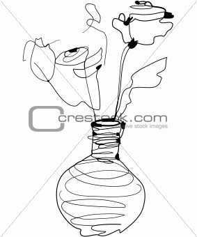 sketch roses standing in a vase