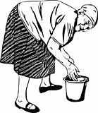 Grandma washes his hands in a bucket