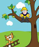 Fireman up a tree