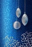 Blue Christmas brocade silver decoration