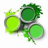 Green paint cans splashes