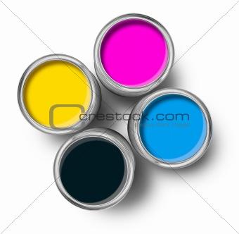 Cmyk color paint tin cans top