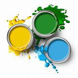 Green blue yellow color paints