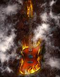 Flaming Bass Guitar