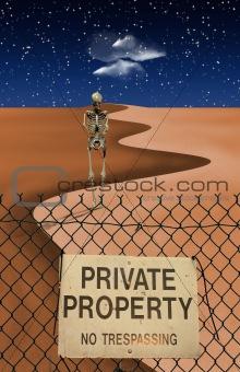 Skeletal Figure in Desert