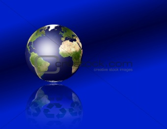 Earth with recycle symbols
