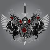 Fantasy design with gryphon and roses on black background