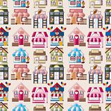 cartoon house / shop seamless pattern