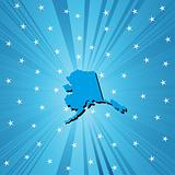 Blue map of Alaska