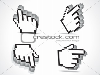 abstract 3d hand cursor icon