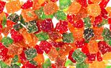 Mixed dried fruits close up on white background