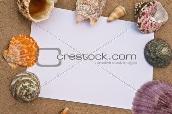 Blank note on a beach