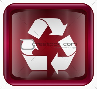 Recycling symbol icon red, isolated on white background