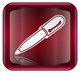 Pen icon red, isolated on white background