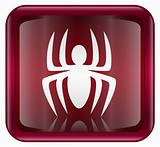 Virus icon red, isolated on background