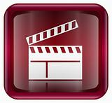 movie clapper board icon red