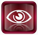 eye icon dark red, isolated on white background.
