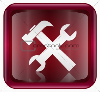 Tools icon dark red, isolated on white background.