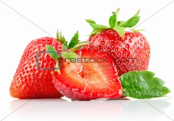 set strawberry berry with cut and green leaf