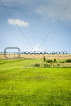 Countryside landscape with rainbow