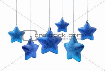Blue roundish Christmas stars