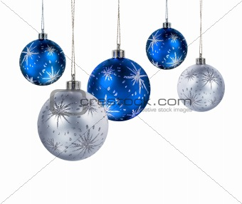 Blue and silver Christmas balls on blue light spot background