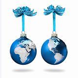 World glass balls blue