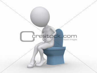 3D man with Intestinal problems sitting on the toilet