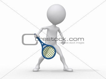 3d abstract human playing tennis