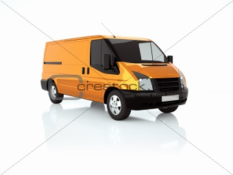 3d illustration of an orange van