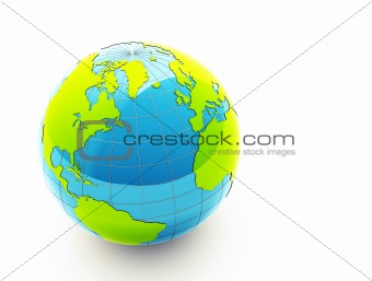 3d glossy green earth on white background