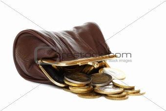 Purse and coins on white background.