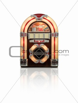 Old Juke box radio isolated