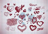 hearts and valentine symbols
