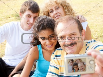 Attractive family pose for a self portrait