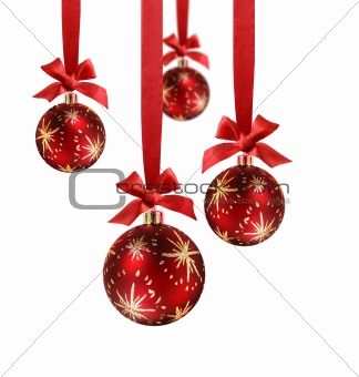 Christmas balls red ribbon