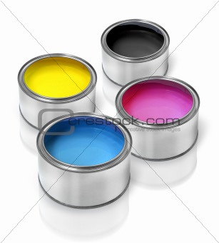 Cmyk paint tin cans