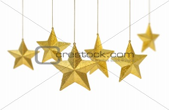 Six golden stars hanging