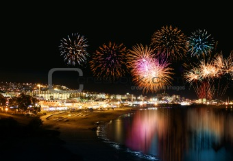 Holiday resort fireworks
