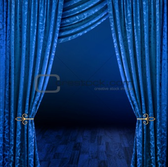 Blue velvet curtains stage