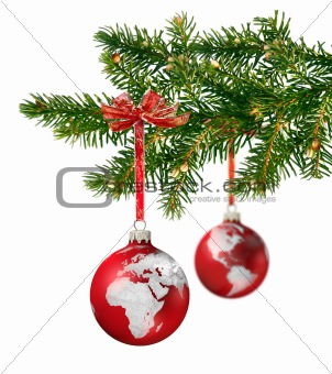 World glass balls on Christmas tree
