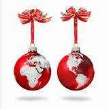 World glass balls red