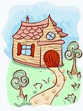 vector cartoon house and trees
