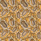 vector seamless background with acorns and oak leaves