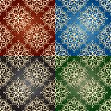 vector seamless pattern on 4 backgrounds