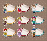 Cartoon Winter child Stickers,Label