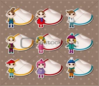 Cartoon Winter child Stickers,Label