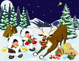 Children and reindeer Rudolph the night of Christmas.                                                                                                               Children and reindeer Rudolph the night of Christmas.