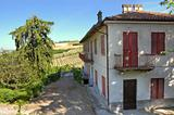 Old rural house on the hills in Italy.