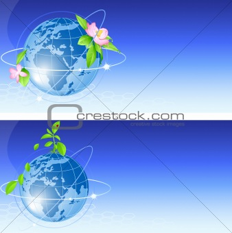 background with blue globe